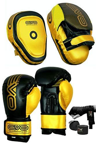 EVO Fitness Boxpolster und Handschuhe Set Haken und Jab Training Sparring MMA Martial Arts Muay Thai Kickboxen Karate