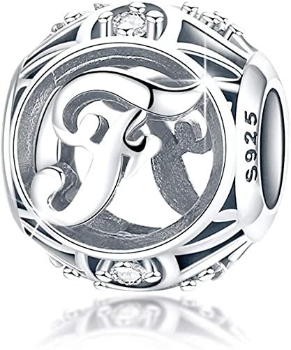 HUIQ Letra Encanto Inicial A-Z Alfabeto Encanto Cuelga Charm para Pulsera Collar 925 Sterling Silver Cz Beads Charm Día de Madres Regalo con Caja-F