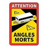Hinweisschild 'Angles Morts' für Frankreich | als Aufkleber oder magnetisch | mit LKW oder Bus-Motiv | 250 x 170 mm | Warnung vor Totem Winkel (Bus-Motiv, Aufkleber)
