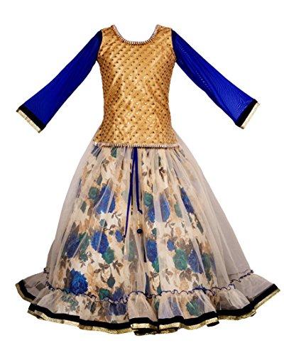 My Lil Princess Baby Girls Birthday Frock Dress_Blue Floral N Lehenga_Net Fabric_8-9 Years