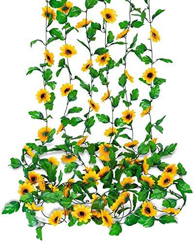 Guirnalda de Girasol Artificial de 6 Piezas, Guirnalda de Flores Colgante de Girasol Artificial para Jardín, Sala de Estar, Decoración de Patio Trasero ✅