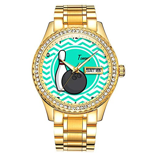 Diamantvergoldete Uhr Luminous Luxury Waterproof Einzigartige Gold-Armbanduhr 065.Bowling; Aqua Green Chevron