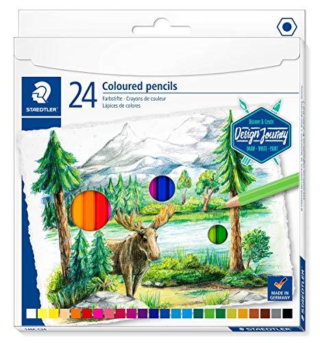 Staedtler Crayons de couleur de haute qualité pour artistes, Mine douce et tendre de 3 mm, Étui carton avec 24 couleurs différentes assorties, 146C C24