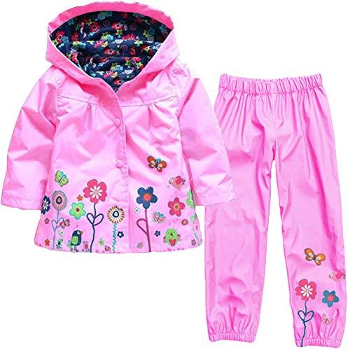 TURMIN Kinder Regenjacke Jungen Mädchen Regenanzug Regenbekleidung wasserdichte Kinderjacke Baby Kleinkind Winddichte Jacke Regen Poncho für 0-5 Jahre Alt-Rosa