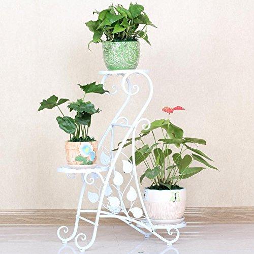 LLLXUHA Art de fer Multi-couche Support de fleurs, intérieur Multifonction Étagère de rangement, balcon Succulentes Présentoir,60*27*80cm , Blanc