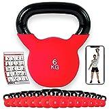 POWRX Kettlebell ghisa 6 kg - Rivestimento in Neoprene + PDF Workout
