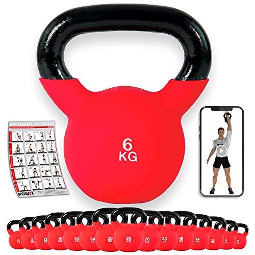 POWRX Kettlebell 4-30 kg | Kugelhantel Neopren (6 kg)