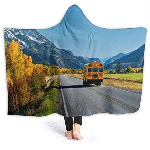 SUHETI Tragbare Hoodie Decke,Mount School Road Bus Reise Autobahn Rocky Nature Sky...