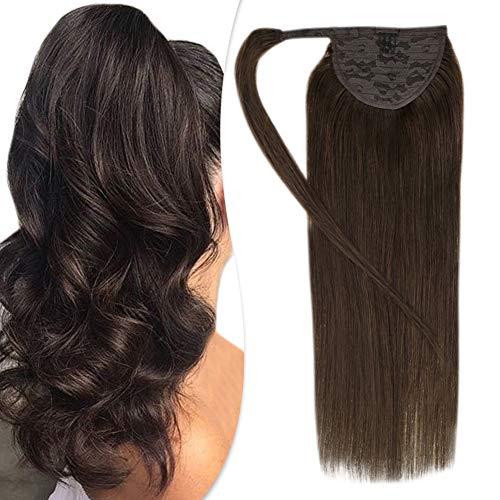 Hetto 12 Zoll One Piece Ponytail Haarverlängerung für Frauen Farbe #2 Dunkelstes Braun 70g eine Packung Straight Echthaar Ponytail Hair Extensions