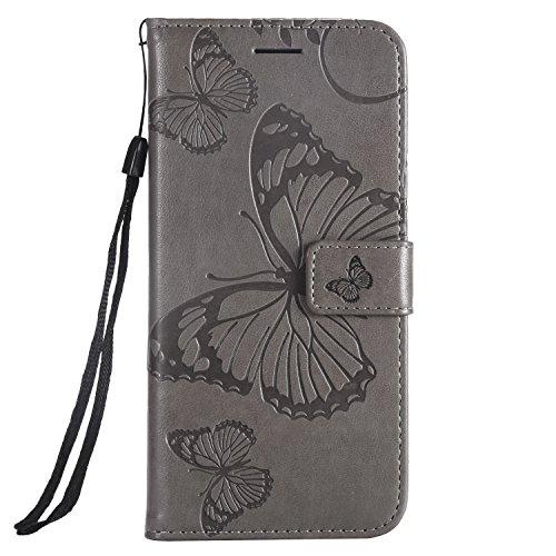 Hülle für Huawei Y5 2018/Honor 7S Hülle Leder,[Kartenfach & Standfunktion] Flip Case Lederhülle Schutzhülle für Huawei Y5 2018 - EYKT041227 Grau