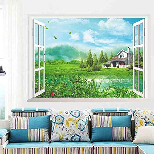 Muurstickers, Natuur Bergen Meer Huis Boom 3d Raam Uitzicht Woonkamer Decoratie Creatieve Poster Muurschildering Behang Decor / 50 / 70cm