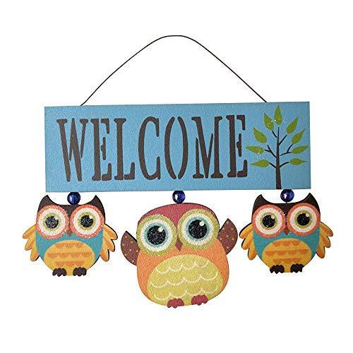 kgjsdf, cartello di benvenuto in legno da appendere per portico anteriore, decorazione da giardino con gufo e porta di benvenuto, per casa e giardino