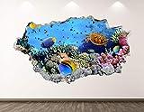 West Mountain Aquarium Wall Decal Art Decor 3D Smashed Ocean Marine Sticker Mural Boys Custom Gift BL74 (50' W x 30' H)