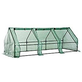 Outsunny 9' L x 3' W x 3' H Portable Tunnel Greenhouse Outdoor Garden Mini Hot House with Large Zipper Doors, Water/UV… 5 ✅PROTECT PLANTS FROM THE ELEMENTS: Bring all of your plants together in a unified and protected space with our garden greenhouse. Having everything in one place means our plant nursery helps you manage and grow your plants, fruits, vegetables, and flowers all year round. ✅UPDATED DESIGN WITH 3 LARGE DOORS: the 3 side doors of our plant nursery can be completely opened and rolled up with ties, thereby making a larger space & creating better ventilation. ✅LET AND KEEP THE GOOD STUFF IN: This small hot house features a PE mesh grid cover that is sun and water fighting to help protect plants while allowing nourishing sunlight to pass through. Furthermore, the cover helps retain heat during colder months.