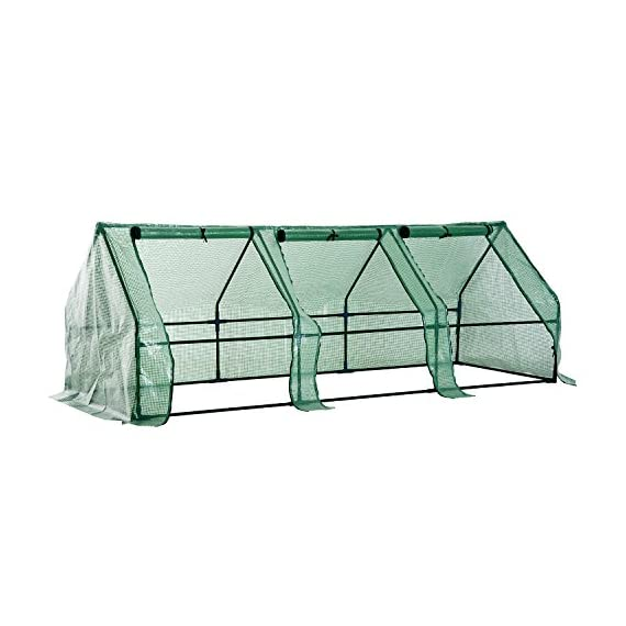 Outsunny 9' l x 3' w x 3' h portable tunnel greenhouse outdoor garden mini hot house with large zipper doors, water/uv… 1 ✅protect plants from the elements: bring all of your plants together in a unified and protected space with our garden greenhouse. Having everything in one place means our plant nursery helps you manage and grow your plants, fruits, vegetables, and flowers all year round. ✅updated design with 3 large doors: the 3 side doors of our plant nursery can be completely opened and rolled up with ties, thereby making a larger space & creating better ventilation. ✅let and keep the good stuff in: this small hot house features a pe mesh grid cover that is sun and water fighting to help protect plants while allowing nourishing sunlight to pass through. Furthermore, the cover helps retain heat during colder months.
