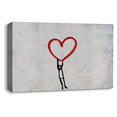 Lienzo decorativo para pared, diseño de graffiti creativo, para decoración del hogar, para sala de estar, dormitorio, 45,7 x 60,9 cm enmarcado