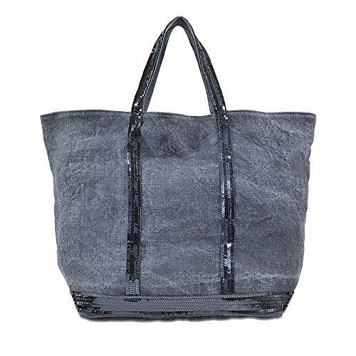 Vanessa Bruno Damen Cabas Medium + -Lin et Paillettes Tasche, Blau (893 Denim), Einheitsgröße
