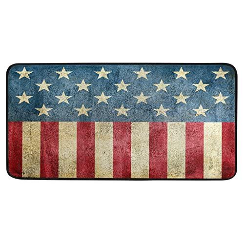 Grunge USA Flag - Alfombra de baño antideslizante para baño, interior de 39 x 20 pulgadas