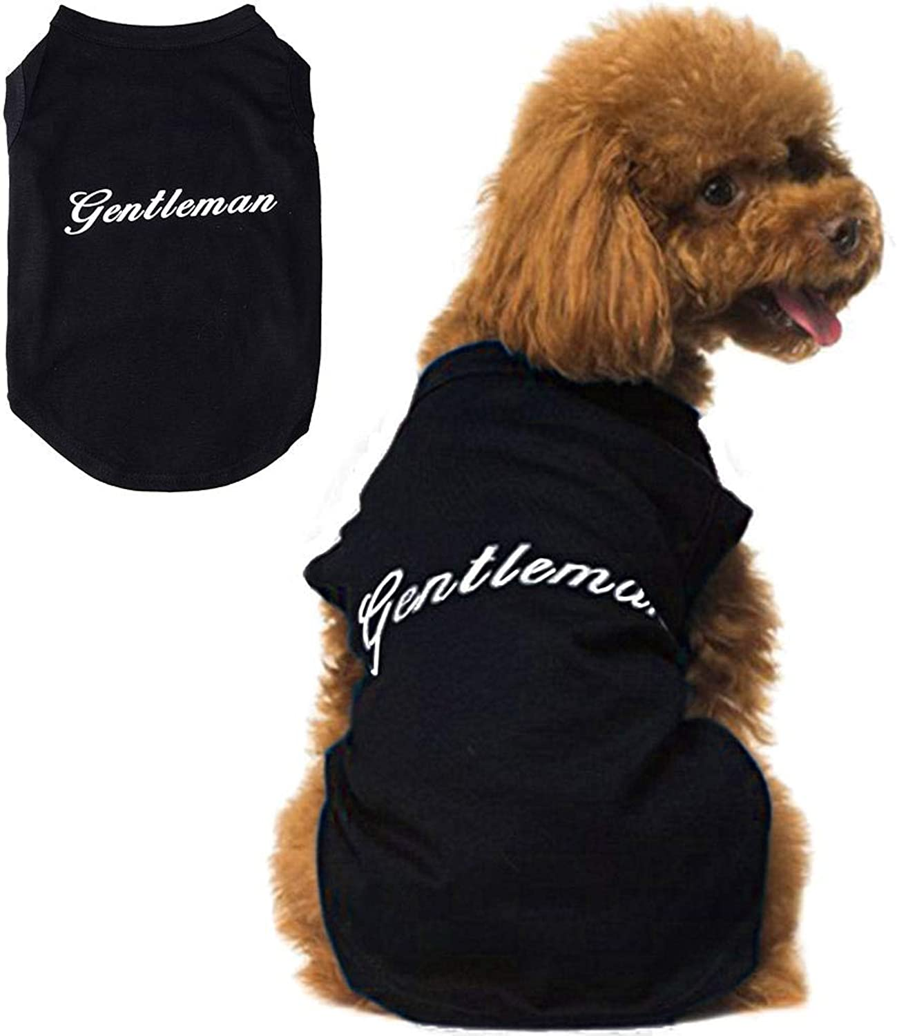 SCENEREAL Small Dog T Shirt Cute Fashion Clothes Gentleman for Pets Puppy Cats, Black S