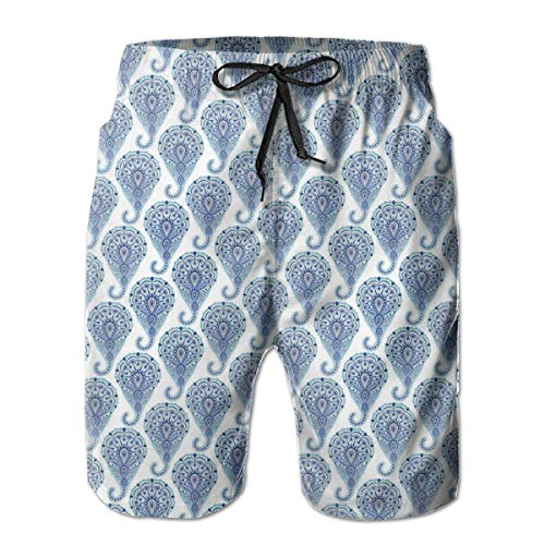 DHNKW Boys Swimming Shorts Funny Printed,Ethnic Paisley Motif with Floral Leaves Print on Raindrops,Quick Dry Beach Board Trunks with Mesh Lining,XX-Large