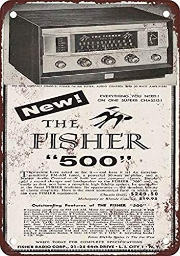 mengliangpu8190 Metal Sign 1957 Fisher 500 Receiver Vintage Retro Wall Art Home Decor Wall Decor Tin Sign Quality Aluminum(Set of 1)