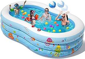 Peradix Piscine Gonflable pour Enfants, Pataugeoire Famille 3 Couches avec Ballon et 2 Porte-gobelets, 240x150x60CM...