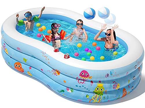 Peradix Aufblasbare Pool, 240 x 150 x 60 cm Planschbecken Groß, Familienpool, Schwimmbecken für Kinder, Erwachsene Garten Outdoor & Indoor -Leicht aufbaubar mit Ball und Cupholde