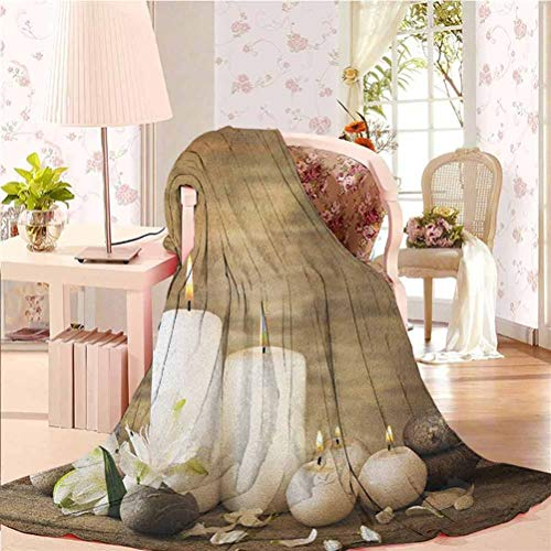 54' W x 84' L Spa Warm Blanket Blanket for Bed Couch Chair Composition of Pure Candles Wooden Background with Stones and Flower Petals Print Brown and White