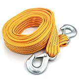 """Heavy Duty Tow Strap with Safety Hooks   2"""" x 13'   11000 LB Capacity , Tow Rope Yellow Shackle for Vehicle Recovery, Hauling, Stump Removal & Much More,Best Towing Accessory for Car"""