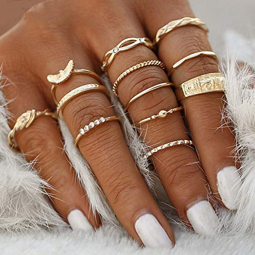 Flrora Boho Forever JoinT Rings Gold Moon Crystal Knuckle Ring Set Fashion Rave Rings Jewelry Accessories for Women and Girls (12 pcs)