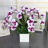 MADHEHAO Decoración Flor Artificial Orquídea Phalaenopsis Arreglos con Maceta de Madera Fiesta de Bodas Decoración de Centro de Mesa, Blanco