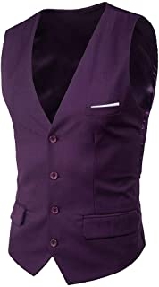 Casual Vest Casual Men Solid Fit Color Slim Modern Casual V Neck Blazer Vintage Business Vest Waistcoat Men