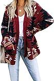 Lihcao Las Mujeres s Navidad de la Manera Rebecas Delantera Abierta Informal de Manga Larga suéter de Punto con Bolsillos Laterales Dos (Color : Red, Size : M)