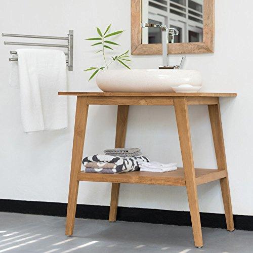 wohnfreuden Waschtisch Teak-Holz Kathrin 80x55x76 cm lasiert Natur