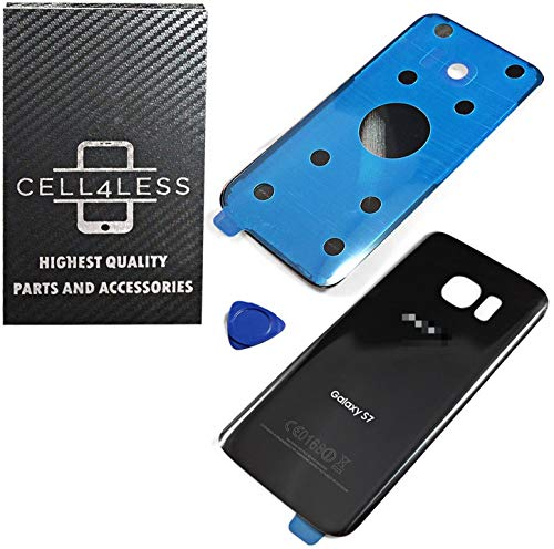 CELL4LESS Compatible Back Glass Cover Back Battery Door w/Pre-Installed Adhesive Replacement for Samsung Galaxy S7 - All Models G930 All Carriers- 2 Logo - OEM Replacement (Black Onyx)