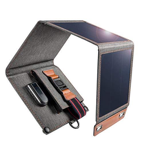 DAIM Cargador Solar 14W USB Teléfono Plegable Cargador de Viaje con Panel Solar de SunPower Impermeable para iPhone X / 8/7 / 6S / Plus