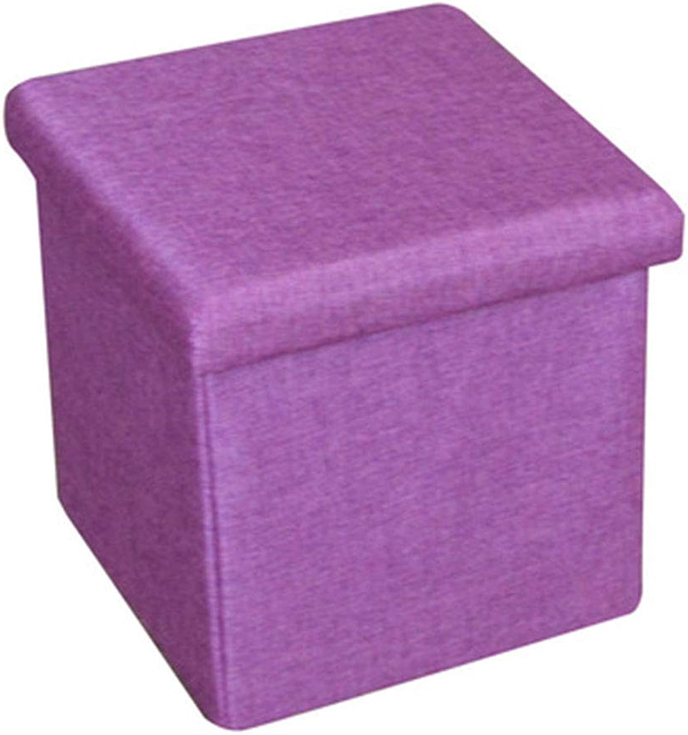 Fashion Storage can sit People Storage shoes Footstool Multi-Function Storage Bench Linen Series,Purple