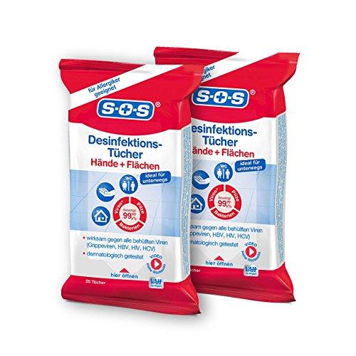 SOS Desinfektions-Tücher, Tücher zur Haut- und Handdesinfektion, Desinfektion von Gegenständen und Flächen, gegen alle Bakterien, Pilze und behüllten Viren, auch für Allergiker, 2 x 25 Tücher