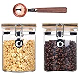 Kebert Clear Glass Storage Containers with Airtight Locking Clamp Bamboo Lids, Glass Food Storage Jars for Kitchen Coffee Bean Nuts Sugar Candy, Glass Sealed Containers with Spoon,27oz X 2 Pieces
