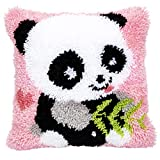 Beyond Your Thoughts DIY Latch Hook Kits Throw Pillow Cover Cute Panda Rug Pattern Printed 16X16 inch, Crochet Needlework Crafts for Kids and Adults