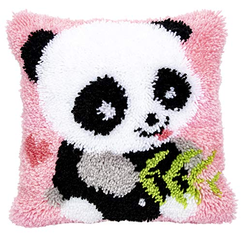 Beyond Your Thoughts Knüpfkissen für Kinder und Erwachsene zum Selber Knüpfen DIY Kissen Latch Hook Kit Panda 42 x 42 cm