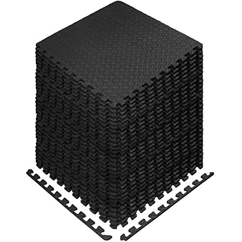 Yes4All Interlocking Exercise EVA Mat Floor Protector (120 Square Feet - Black - with Border) - ²XPAJZ (XPAJ)