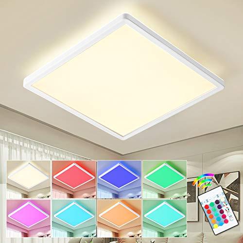 15W LED Deckenleuchte Dimmbar, 1800LM 4000K LED Deckenlampe Dimmbar mit Fernbedienung, 15 RGB Farbwechsel, IP44 Lampe Ideal Für Wohnzimmer, Schlafzimmer, Balkon, Flur, Küchen, Ø29.3×2.85CM