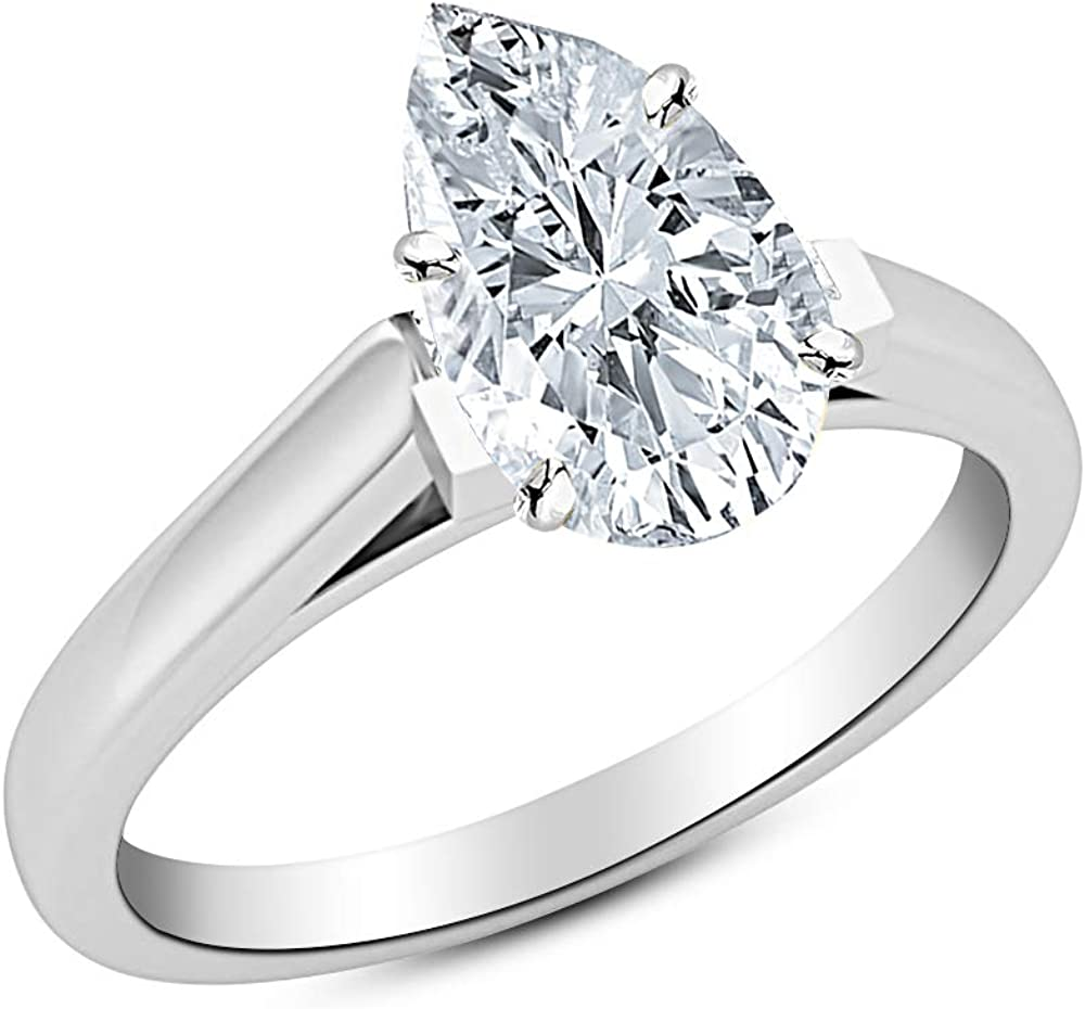 0.46 Ct Pear Cut Cathedral Solitaire Diamond Engagement Ring 14K White Gold (H Color VS2 Clarity)