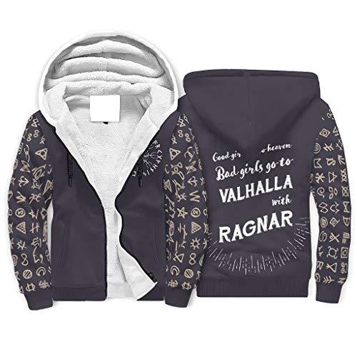 XHJQ88 Heren Rits Winter Fleeced Sweatshirt met gevoerde tiener Slechte meisjes gaan naar Valhalla Print Retro - Viking Zip Hooded Zachte Jas voor Halloween Present