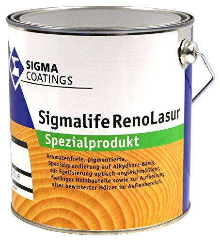 2,5L Sigma Sigmalife RenoLasur dunkel Spezialgrundierung zum Aufhellen dunkler und Anpassen farblich ungleichmäßiger Hölzer im Aussenbereich