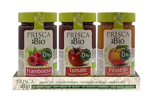 PRISCA Mermelada 100% Ecológica de Frambuesa - Tomate - Melocotón - Sin Azúcar Añadido - Produto Bio Certificado - Paquete con 3 Unidades de 240 gr Cada