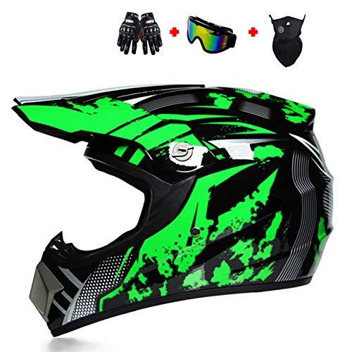 DOT Approved Motocross Helmet for Men Women, Adult ATV Dirt Bike Off-Road Helmet with Goggles Neck Gaiter Gloves, MX BMX 4 Wheeler Downhill Helmet,Green,XL