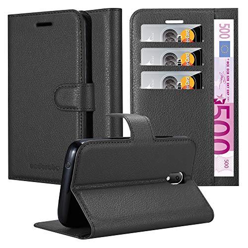 Cadorabo Hülle für WIKO Sunny 3 Mini - Hülle in Phantom SCHWARZ - Handyhülle mit Kartenfach & Standfunktion - Case Cover Schutzhülle Etui Tasche Book Klapp Style