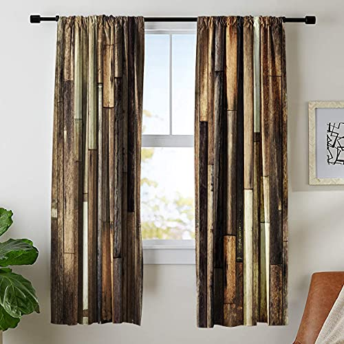 Riyidecor Rustic Wooden Barn Door Curtains Rod Pocket Wood Plank Brown Barnwood Western Country Style Lodge Farmhouse Printed Living Room Bedroom Window Drapes Treatment Fabric (2 Panels 52 x 84 Inch)